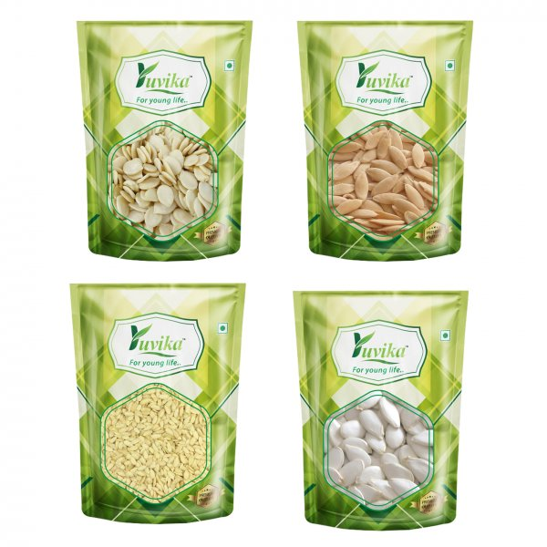 YUVIKA 4 Magaz - Watermelon Seeds - Cucumber (Kukumber) Seeds - Muskmelon Seeds - Pumpkin Seeds White (Indian)