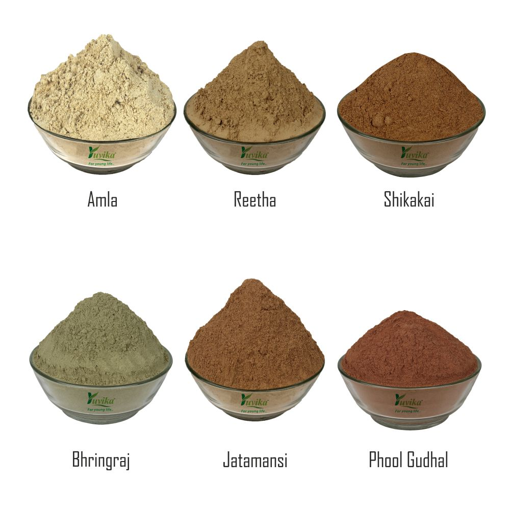 YUVIKA Combo Awla Powder - Reetha Powder - Shikakai Powder - Jatamansi Powder - Gudhal Phool Powder - Bhringraj Powder 900 GM (150 GM Each)