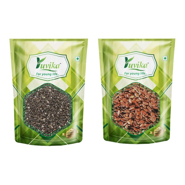 YUVIKA Foods Raw Chia and Flax Seeds Combo Pack of 2 (150 g Each, Total 300 g)