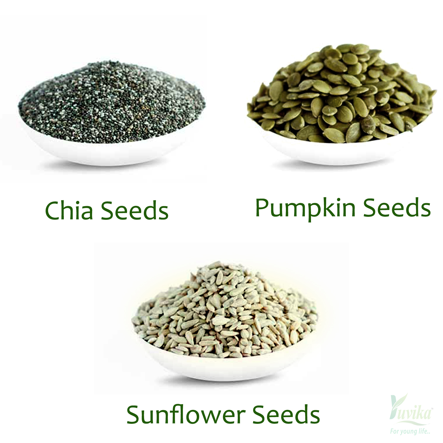 YUVIKA Foods Raw Chia, Pumpkin and Sunflower Seeds Combo Pack of 3, 150 g Each
