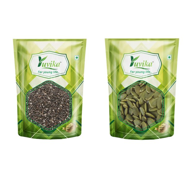 YUVIKA Foods Raw Chia Seeds & Raw Pumpkin Seeds 500g (250g x 2 )