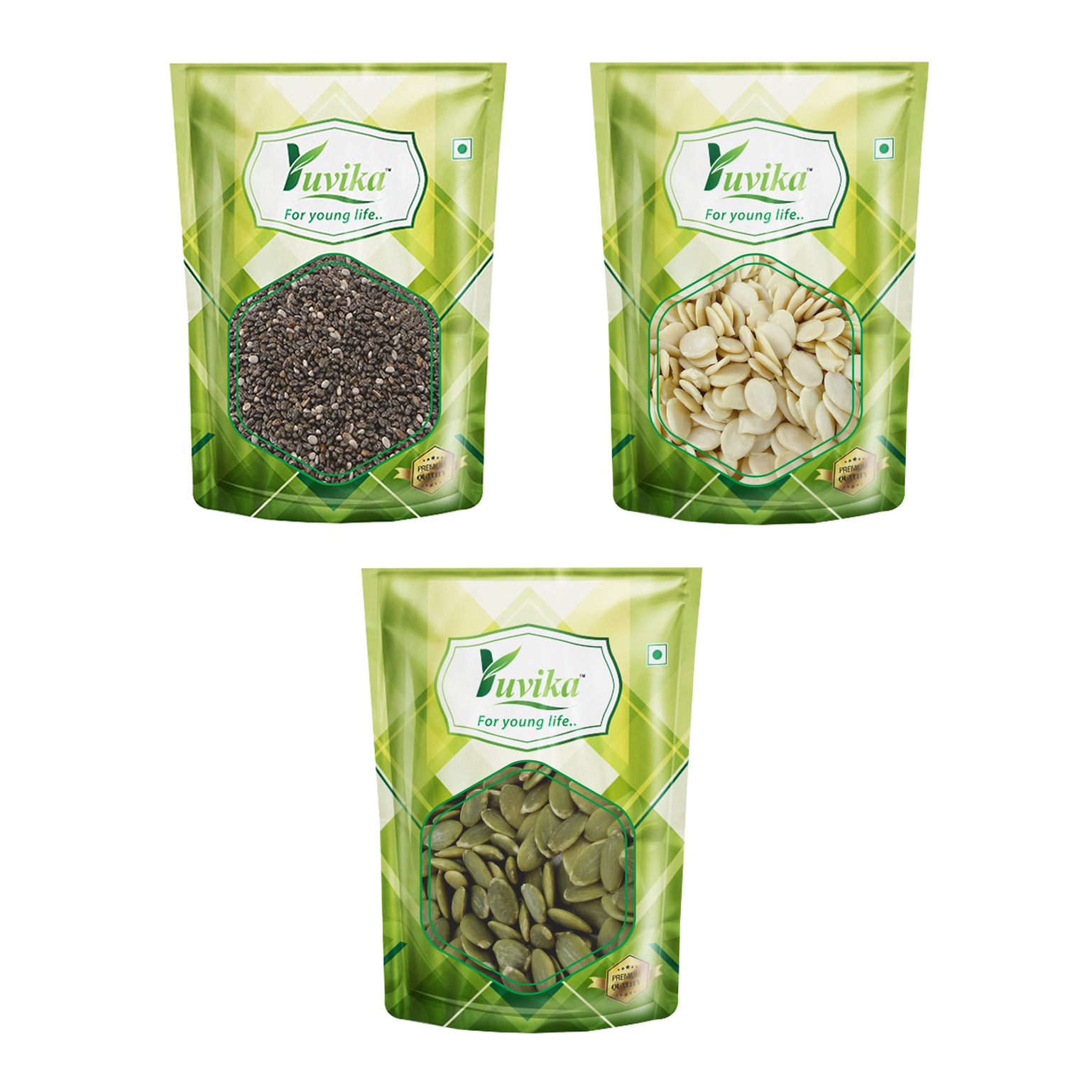 YUVIKA Raw Chia Seeds, Pumpkin Seeds and Watermelon Seeds 450g Combo Pack (Pack of 3) (150g Each)