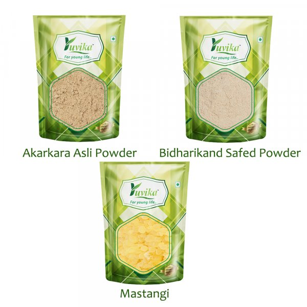 YUVIKA Combo Pack Akarkara Powder (50 Grams) - Bidharikand Safed Powder (50 Grams) - Mastangi (50 Grams)