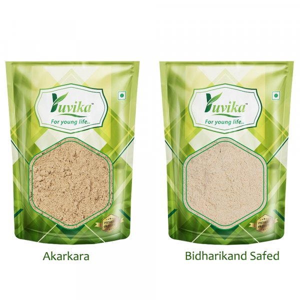 YUVIKA Combo Pack Akarkara Powder (100 Grams) - Bidharikand Safed Powder (100 Grams)