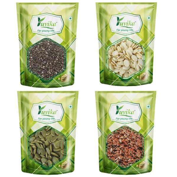 YUVIKA Superfood Combo Pack of Chia Seed 100gms, Watermelon Seeds 100gms, Pumpkin Seeds 100gms & Flax Seed 100gms (Value Pack of 400 GMS)