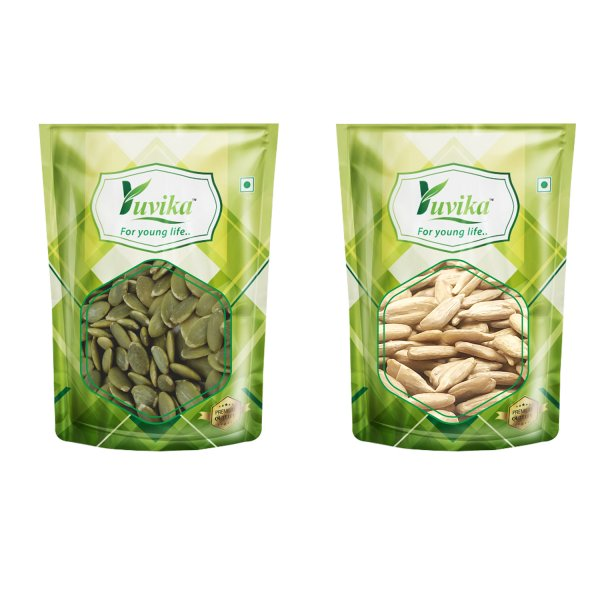 YUVIKA Foods Combo Raw Pumpkin & Raw Sunflower Seeds 500 Grams (2 x 250g Each)