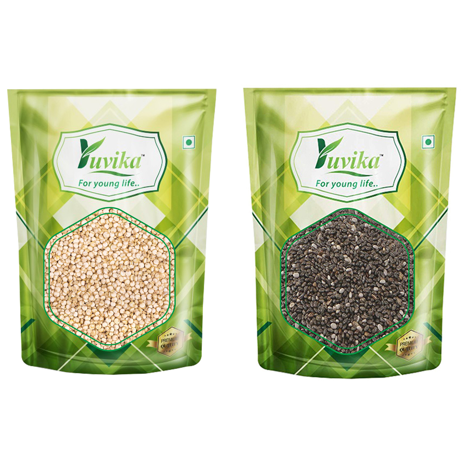 YUVIKA Superfood Combo of Quinoa Seeds & Chia Seeds, 2 x 500 Grams 1000 Grams