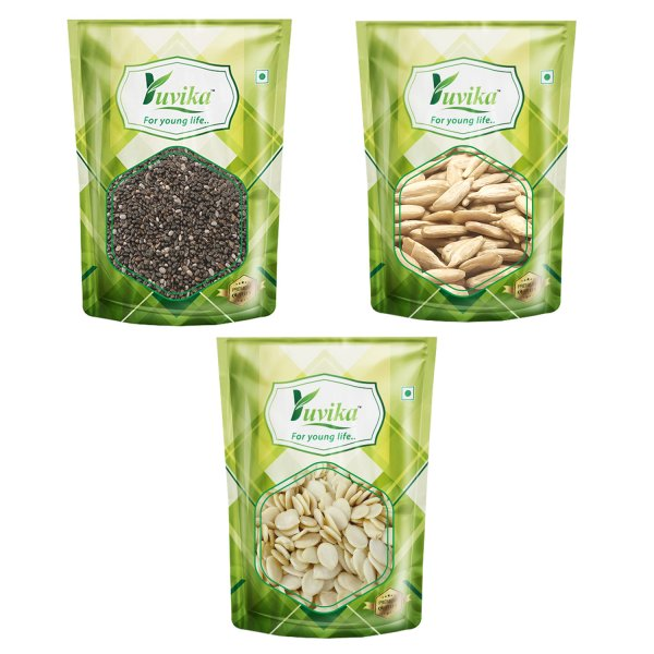 YUVIKA Combo Chia Seeds, Raw Watermelon Seeds & Raw Sunflower Seeds